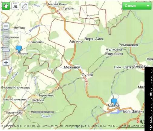 Сикияз-Тамак находится в 36 км от Сатки, в 9 - от городка Лаклы