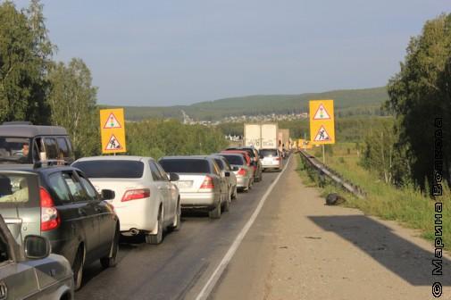 Многокилометровая пробка на федеральной трассе М5
