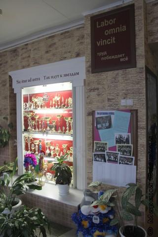 Традиционный стенд с кубками в обрамлении цветов