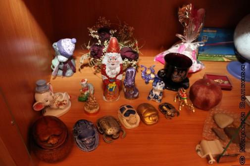 Коллекция скарабеев в кабинете директора