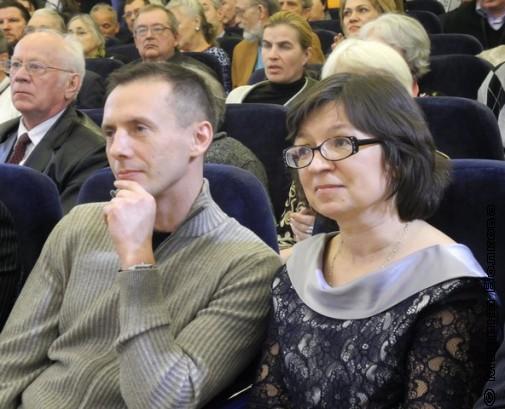 Михаил Стригин и Нина Ягодинцева в зале церемонии