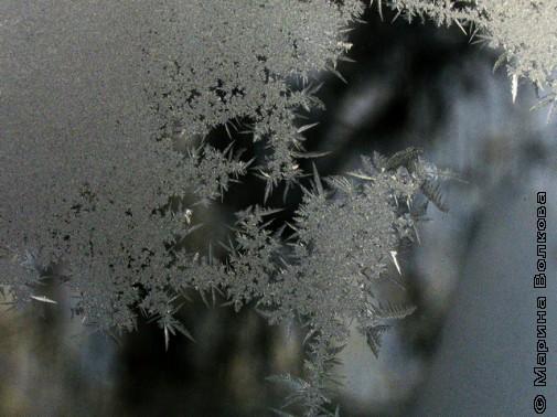 зимние морозные узоры на стекле
