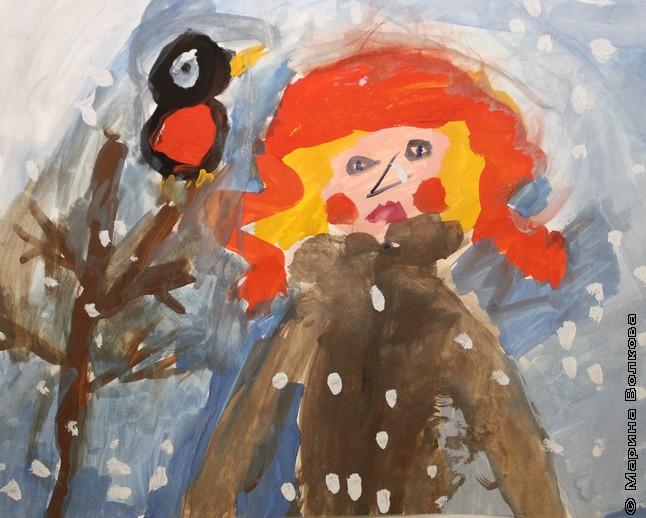 Я и снегирь. Тузова Катя, 7 лет, Челябинск