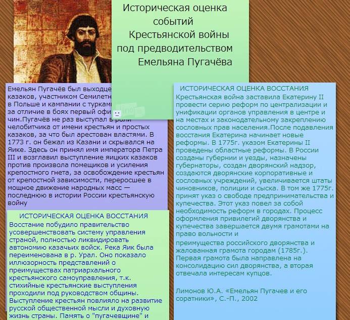 Историческая оценка событий Крестьянской войны под предводительством Емельяна Пугачёва