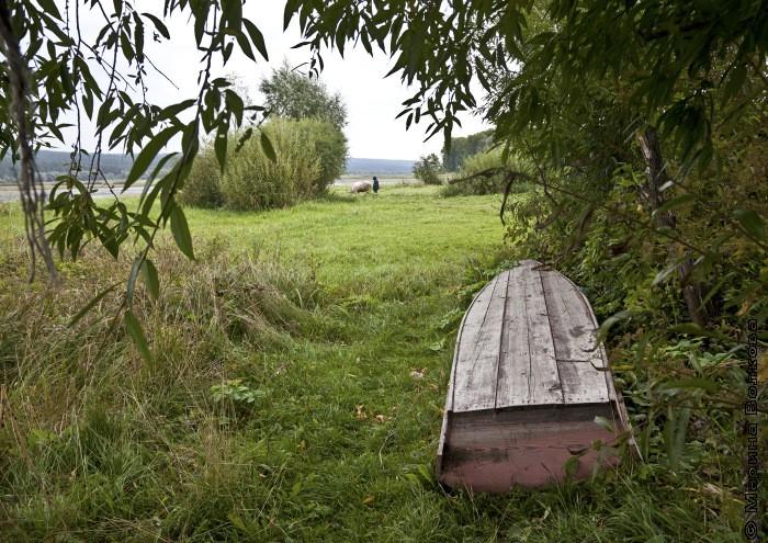 Пейзаж с пастухом и перевернутой лодкой