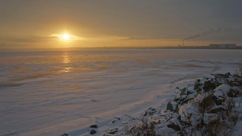 Закат на озере Смолино, декабрь
