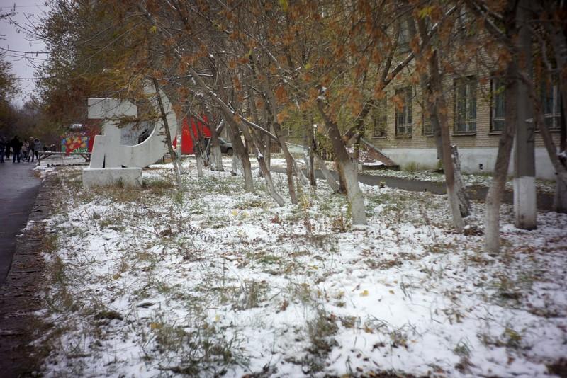 Первый снежок на улицах Челябинска